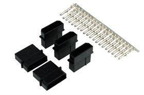 Phobya 4-Pin Molex Connector (incl. pins) - Male - 5 pcs - Black